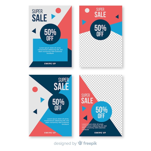 Sale social media banner with photo pack Free Vector