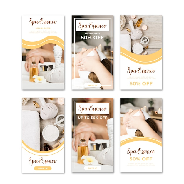 Sale spa banner instagram stories set Free Vector