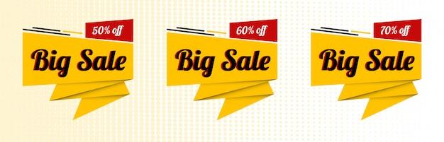 Sale special offer ribbon banner set Premium Vector