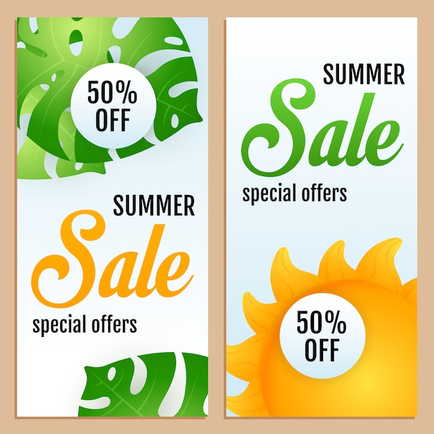 Sale, special offers letterings set with tropical leaves and sun Free Vector