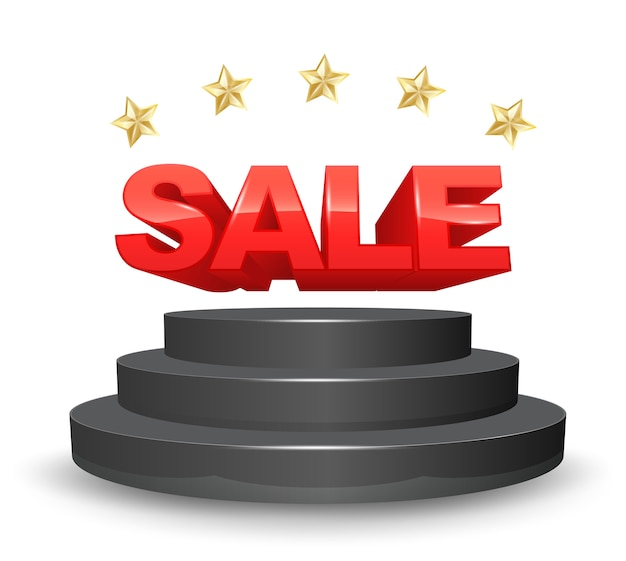 Sale stage with five gold star 3d style Premium Vector