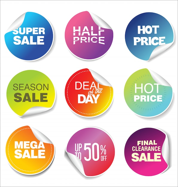 Sale stickers and tags modern rainbow collection Premium Vector