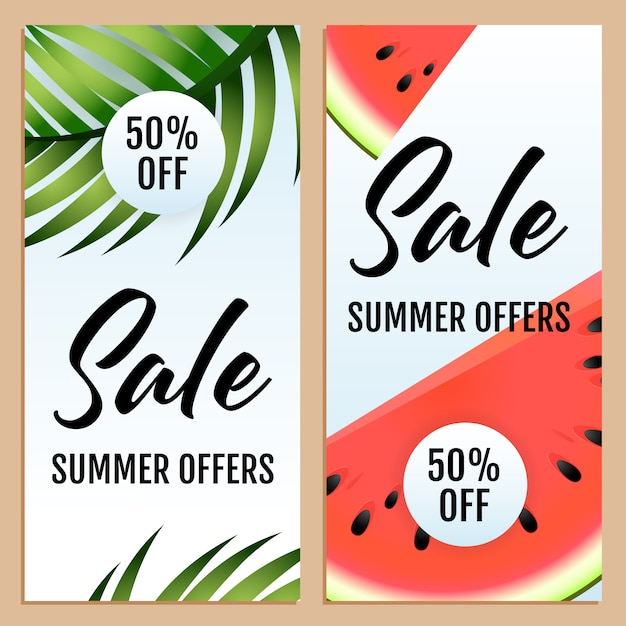 Sale summer offers, fifty percent off letterings set Free Vector