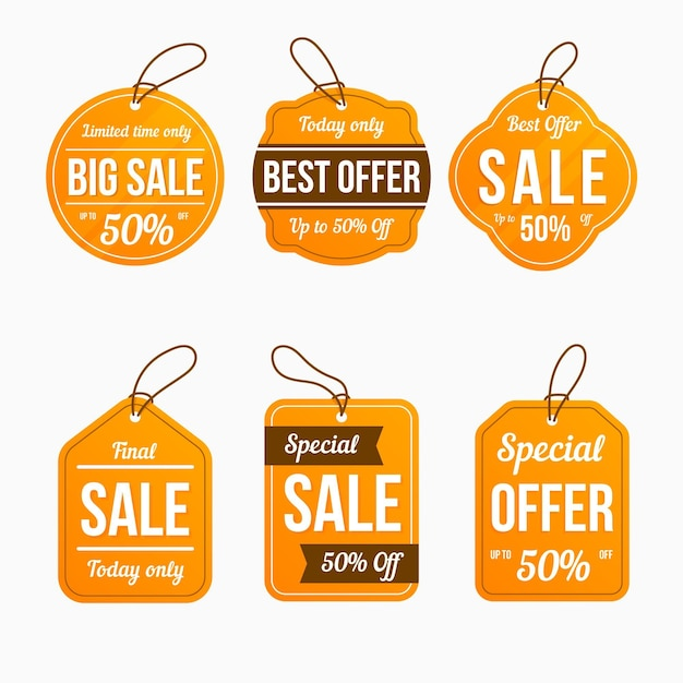 Sale tag pack Free Vector