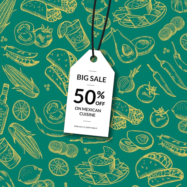 Sale tag with sketched mexican food elements Premium Vector