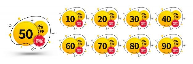 Продажа теги установлены. элементы дизайна понятия для использования в рекламе, сети, дизайне печати и маркетинге. модные значки шаблона, до 10, 20, 30, 40, 50, 60, 70, 80, 90 процентов от. Premium векторы