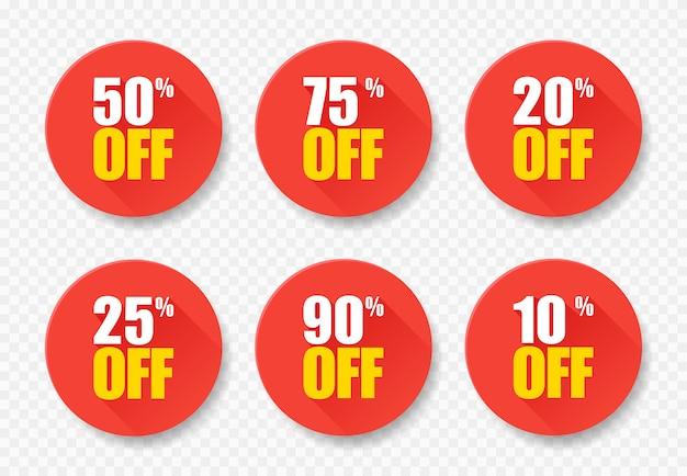 Продажа тегов набор векторных значков шаблон, 10, 20, 25, 50, 75 90-процентные символы этикетки продажи, плоский значок скидки с длинной тенью Premium векторы
