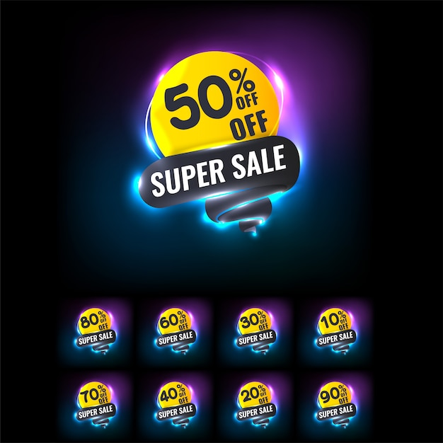 Sale tags set with neon light Premium Vector