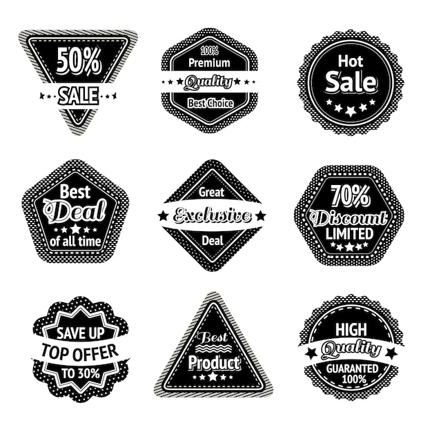 Sale tags and stickers set for best price high quality and exclusive deal isolated Free Vector