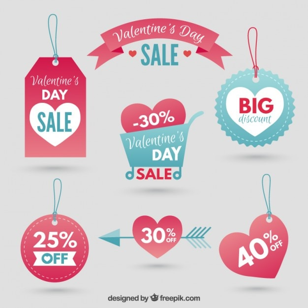 sale tags valentine day pack premium vector - Valentine Sale