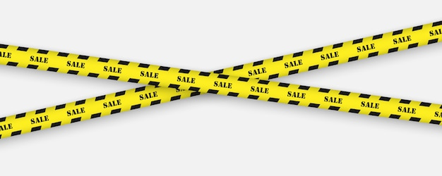 Sale tape with black and yellow striped borders Premium Vector