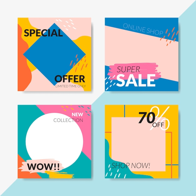 Sale template banner set vector Free Vector