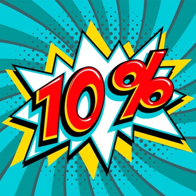 Скидка 10%, скидка 10% на фоне комиксов. Premium векторы
