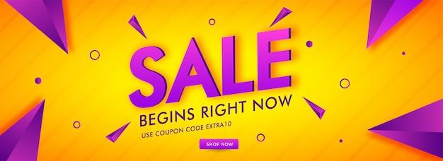 Sale text with geometric element on orange stripe background Premium Vector