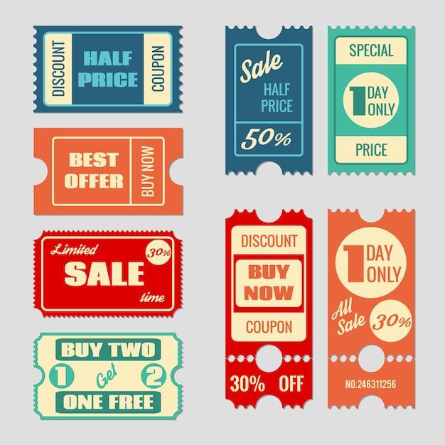 판매 티켓 벡터 컬렉션. 쿠폰 및 구매, 태그 및 가격, 라벨 용지, 프로모션 할인 그림 무료 벡터