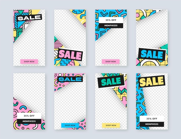 Sale transparent background instagram stories Free Vector
