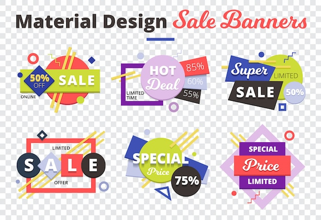 Sale transparent icon set with material design sale banners description on top Free Vector