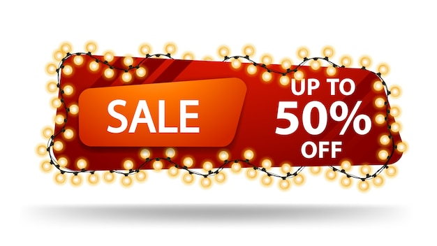Sale, up to 50% off, horizontal red discount banner with garland isolated on white Premium Vector
