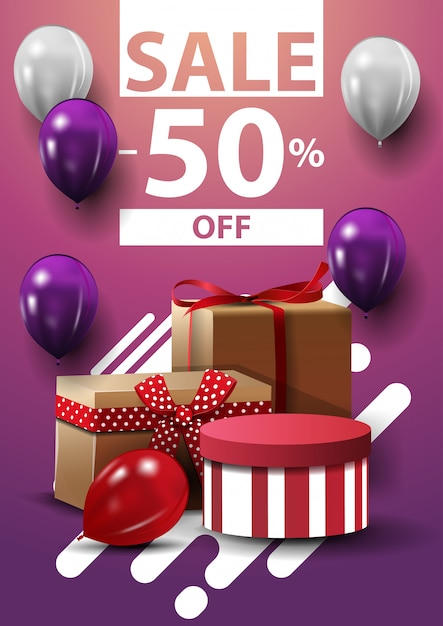 Sale, up to 50% off, vertical web banner with ballons and gifts Premium Vector
