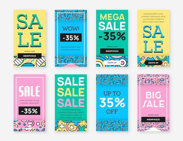 Sale on various background colours instagram stories Free Vector