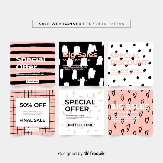 Sale web banner collection Free Vector