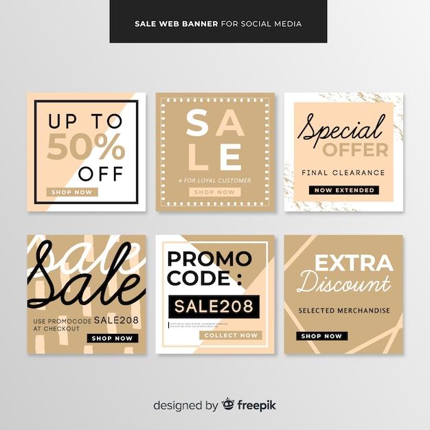Sale web banner for social media Free Vector