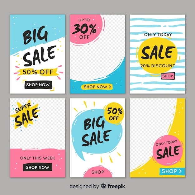 Продажа веб-баннера для социальных сетей Бесплатные векторы