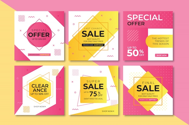 Sale web banner for instagram, square size Premium Vector