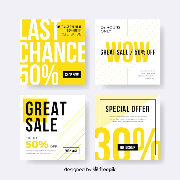 Sale web banner for social media collection Free Vector