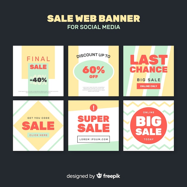 Sale web banner for social media Free Vector