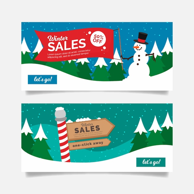 Sale winter banners with north pole sales sign and snowman Free Vector