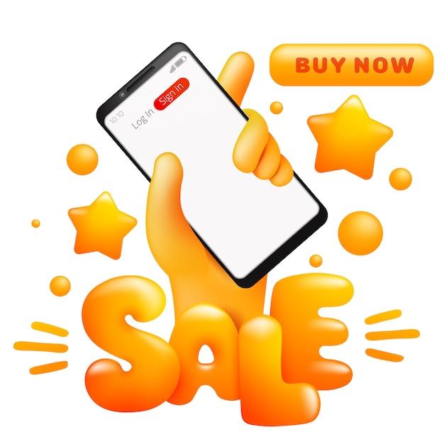 スマートフォンを持っている漫画黄色の手で販売。オンラインショッピング。 [今すぐ購入]ボタン。 Premiumベクター