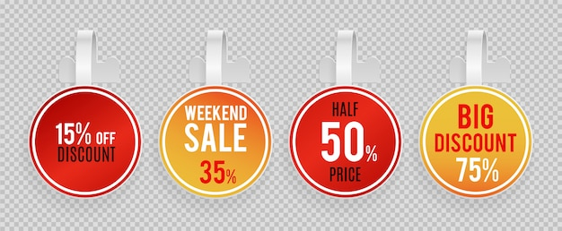 Sale wobblers mockup. special offer, discount vector banners template on transparent background Premium Vector