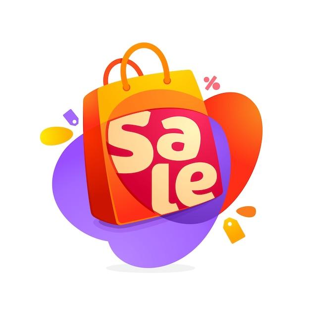 Слово продажи со значком хозяйственной сумки и биркой продажи. Premium векторы