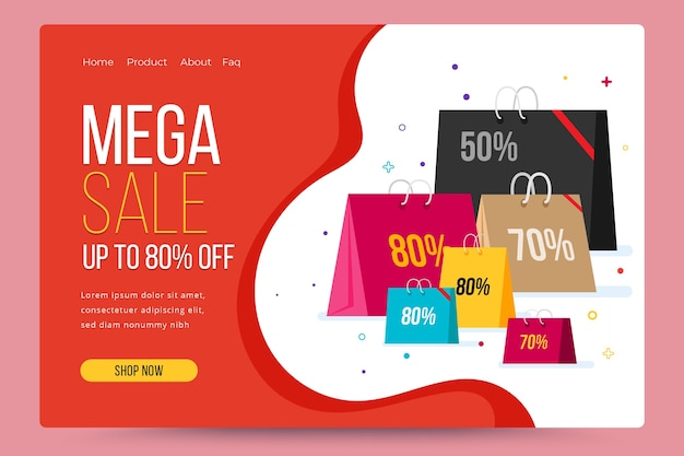 Sales abstract landing page template Free Vector