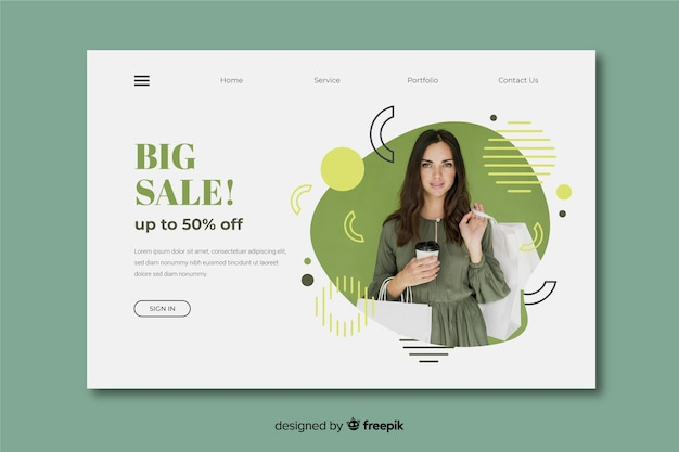 Sales abstract landing page with image Free Vector