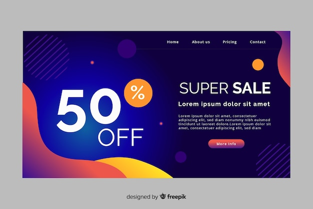 Sales abstract landing page Free Vector