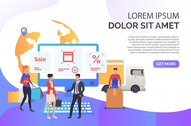 Sales agent working with customers Free Vector