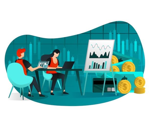 Встреча по продажам и росту прибыли Premium векторы