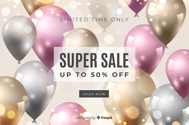 Sales background with colorful realistic balloons Free Vector