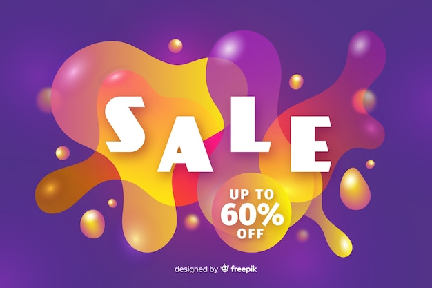 Sales background with fluid effect Free Vector