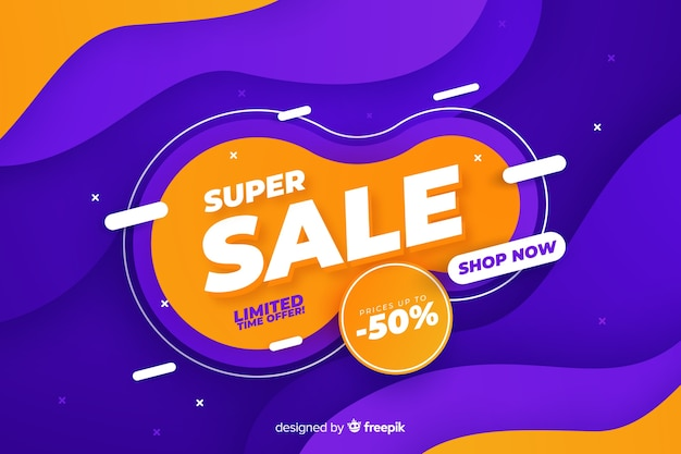 Sales background with liquid effect Free Vector
