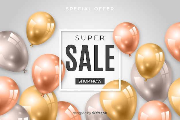 Sales background with realistic balloons Free Vector
