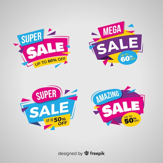 Sales banner collection in abstract style Free Vector