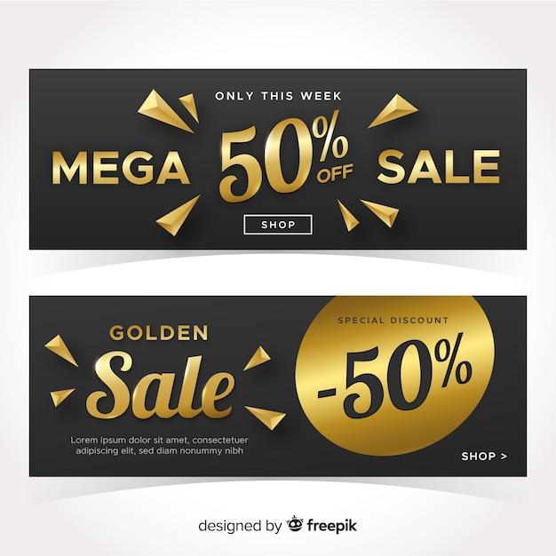 Sales banner collection golden details Free Vector