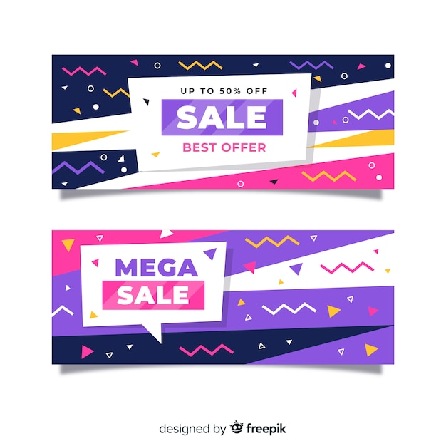 Sales banner collection memphis style Free Vector