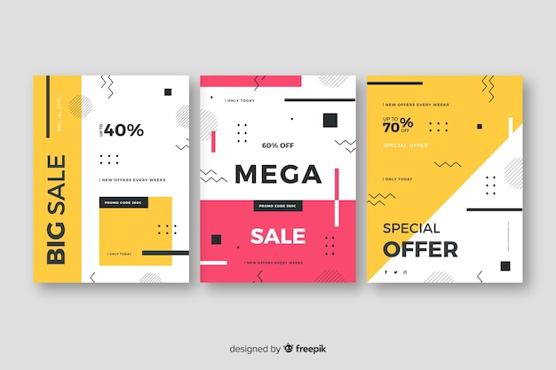 Sales banner collection in memphis style Free Vector