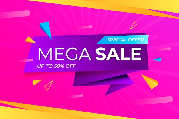 Sales banner collection in origami style theme Free Vector
