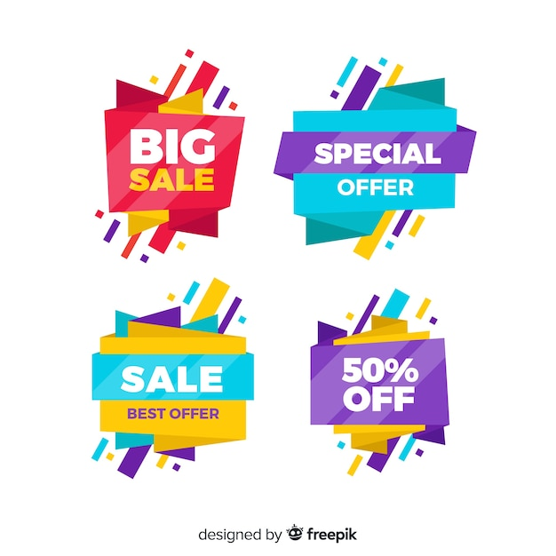 Sales banner collection origami style Free Vector
