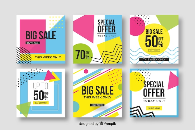 Sales banner collection for social media Free Vector